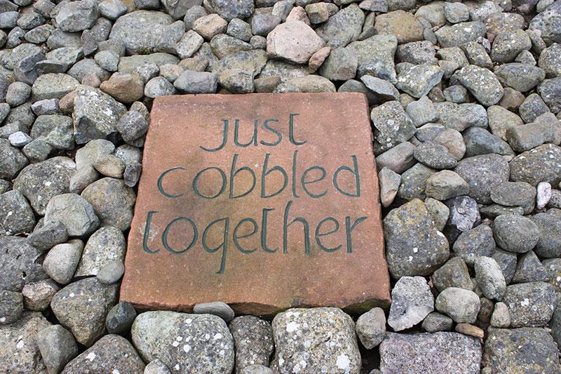 Cobbled together