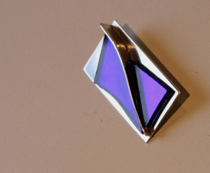 Silver and glass broach